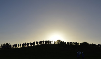 Crowds stand alongside the first fairway to watch the 40th Ryder Cup at Gleneagles