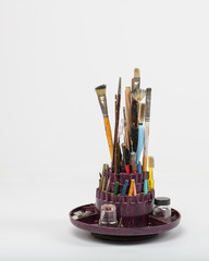 Vintage photo retouching tools brushes pencils