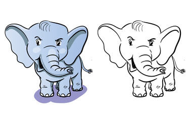 Vector Cartoon of isolated colorful and black-white elephant for coloring book for children