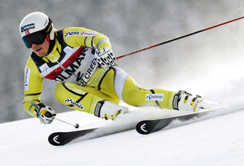 Kjetil Jansrud of Norway skis to the fifth best time in the first run of the men's World Cup giant slalom in Beaver Creek