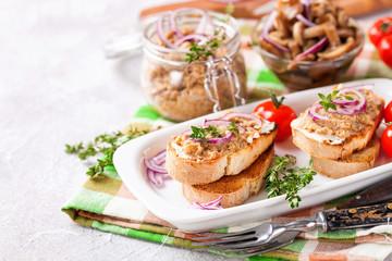 Bruschetta with mushroom caviar. Mushrooms. Selective focus. Copy space for text