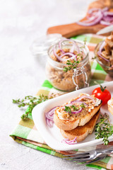 Bruschetta with mushroom caviar. Mushrooms. Selective focus. Copy space for text