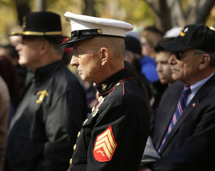 U.S. military veterans attend ceremonies on Veteran's Day at the Vietnam Women's Memorial in Washington