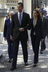 Spain's new King Felipe and Queen Letizia arrive for an event to show support for victims of terrorism in Madrid