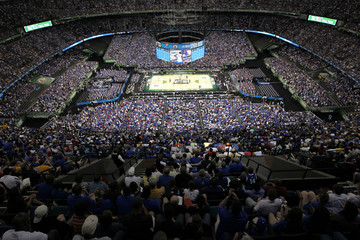 Overall view of the court at the men's NCAA Final Four championship college basketball game between the Kentucky Wildcats and the Kansas Jayhawks in New Orleans