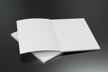 Two blank white open brochure mock-up on brushed metal background