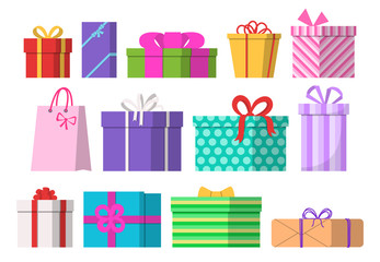 Gift boxes set. Flat design. Vector illustration.