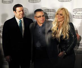 John Gotti Jr. and actors John Travolta and Lindsay Lohan pose  in New York