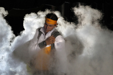 Spain's Nadal arrives for his singles tennis match against Serbia's Djokovic at the ATP World Tour Finals in London