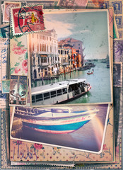 Postcards stamped vintage holiday and tourism in Italy, in Venice series