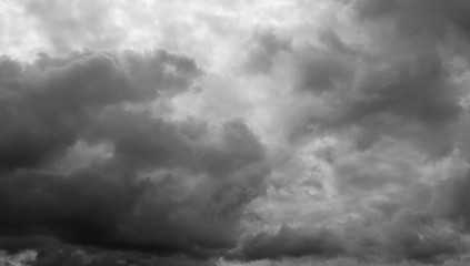 Cloudy overcast sky. Clouds flying over horizon, cloudscape.