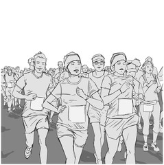 Illustration of cheerful crowd running marathon with blank signs