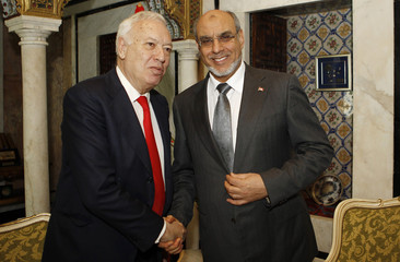 Tunisia's Prime Minister Jbeli shakes hands with Spain's Foreign Affairs Minister Margallo in Tunis