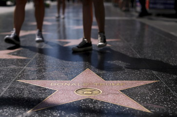 The star of U.S. Republican presidential candidate Donald Trump is pictured on the Hollywood Walk of Fame in Hollywood