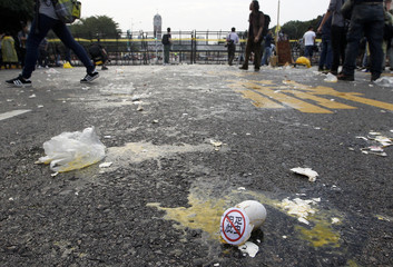 Broken eggs are seen in front of the Presidential Office in a protest in Taipei