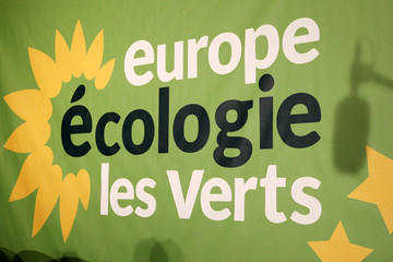 The logo of the French Europe Ecologie-Les Verts Green Party is seen on a wall during the party's parliamentary days in Nantes