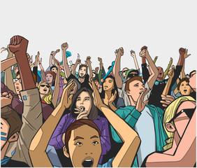 Illustration of festival crowd having fun at concert
