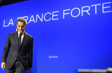 Nicolas Sarkozy, France's President and UMP candidate for the 2012 French presidential election at an electoral rally in Morlaix, Western France