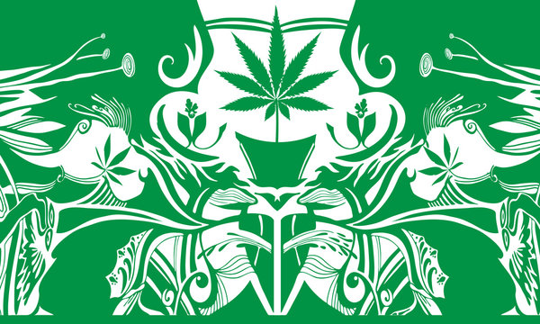 Cannabis Leaf Potted Plant growing in a decorative background with green and white colors, Header illustrations of Marijuana grow houses, elegant illustrations of cannabis