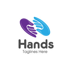 Family hands Care logo, togetherness concept logo. Union abstract hands logo. Hands closeup vector. Abstract social hands logo