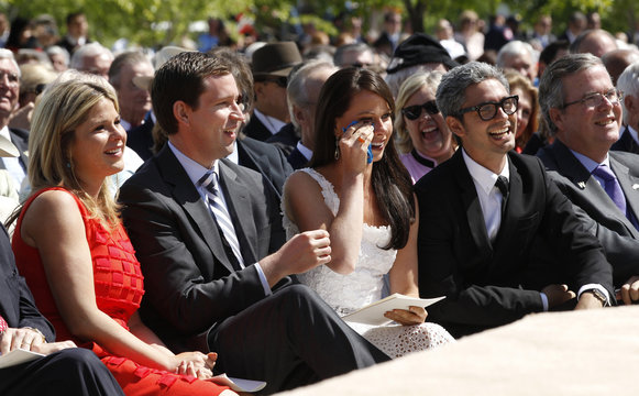 Family and friends of the Bush family listen as former president George W. Bush delivers remarks at the dedication ceremony for the George W. Bush Presidential Center in Dallas