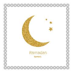 Ramadan Kerim, white Arabic bezel and gold glitter moon. Template design for greeting card, banner, poster, invitation. Vector illustration.