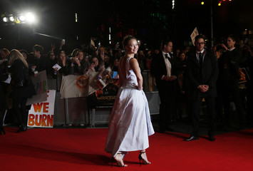 """Actress Lawrence arrives for the world premiere of """"The Hunger Games : Mockingjay Part1"""" at Leicester Square in London"""