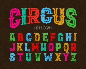 Vintage style typeface, Circus show font