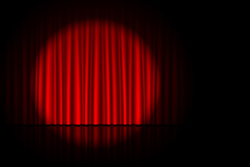 Stage with red curtain and spotlight on it. Theater, circus or cinema poster background with space for text