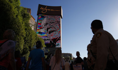 A digital image of Democratic presidential candidate Sanders is displayed on the front of Las Vegas's Wynn Hotel, site of the first official Democratic candidates debate of the 2016 presidential campaign in Las Vegas