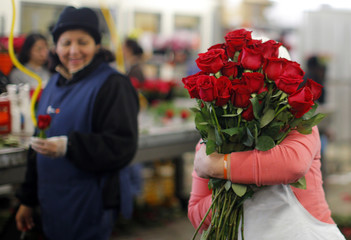 A worker carries an armload of red roses at Winston Flowers in Boston