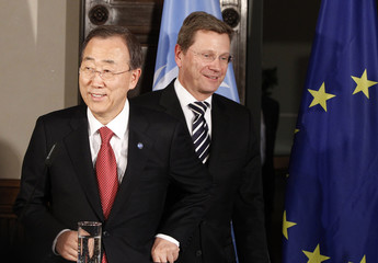 German Foreign Minister Westerwelle and UN Secretary-General Ban Ki-moon arrive for news conference in Berlin