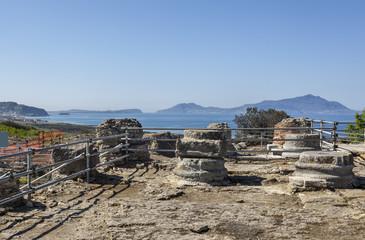Ruins of antique temple of Apollo in Cumae, Italy