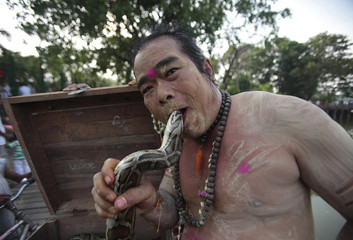A devotee poses for a picture with a snake during a Hindu festival in Yangon
