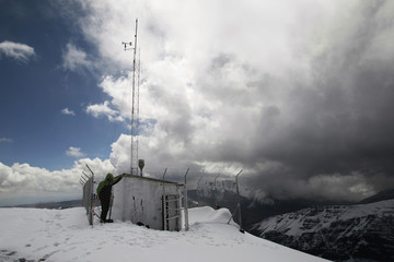 A station monitoring climate change is seen on Chacaltaya mountain 5300 m above sea level