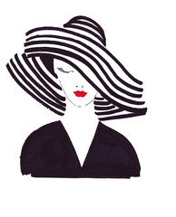 Illustration sketching a portrait of a beautiful woman in a striped hat black