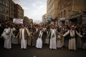 Protesters loyal to the Shi'ite al-Houthi rebel group shout slogans during a demonstration to protest against what they say is U.S. interference in Yemen, in Sanaa