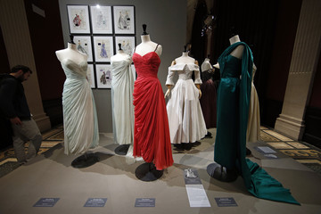 """Vintage dresses by designers Jean Desses, Christian Dior and Jacques Fath are presented in the exhibition """"Les Annees 50, La mode en France"""" at the Palais Galliera  fashion museum in Paris"""
