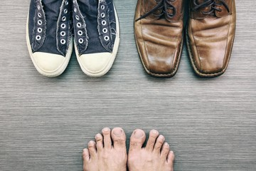 Men Shoes, Different Style of fashion, Compare of formal and casual men fashion style, Sneakers, Leather Shoes. (Color Processed)