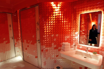 The toilettes for the bar and restaurant is seen during the inauguration of the Mandarin Oriental hotel in Paris