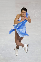 Czisny jumps while skating during the women's free skate program at the U.S. Figure Skating Championships in Greensboro