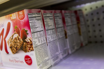 The Nutrition Facts label is seen on a box of Cereal Bars at a store in New York