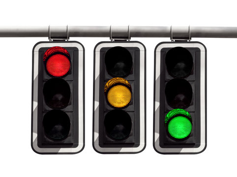 Traffic lights - red yellow green isolated