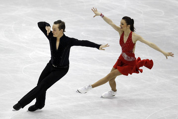 Shtork and Rand of Estonia perform during the ice dance short dance at the ISU World Figure Skating Championships in Nice
