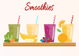 Cartoon smoothies. Orange, berry, banana, green  smoothie. Organic fruit shake smoothie. Flat design. Vector illustration.