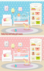 Baby room interiors. Baby boy room and baby girl rooms. Flat design.