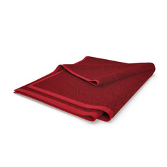 Folded red bath towel isolated on white. 3D illustration