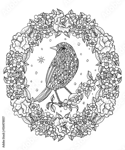 Bird And Flower Wreath Coloring Page Mountain Bluebird Vector Illustration