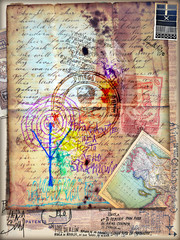Fototapeten Phantasie Manoscritto esoterico e misterioso con disegni,collage e schizzi alchemici e astrologici