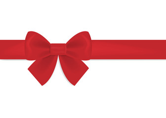Decorative red bow with horizontal ribbon.
